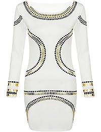 Neue Frauen Plus Size Goldfolie Tupfen Printed Long Sleeve Midikleid 44-52