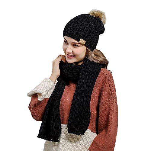Damen Mütze Schals Zwei Stücke Vertikale Streifen Einfarbig Warme,MeMi'S , black , one size (Streifen-schal Vertikale)