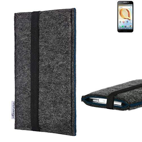 flat.design Handyhülle Lagoa für Alcatel A30 Plus   Farbe: anthrazit/blau   Smartphone-Tasche aus Filz   Handy Schutzhülle  Handytasche Made in Germany