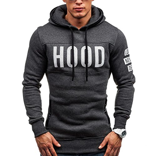 Oyedens Herren MäNner Winter DüNnen Warme Sweatshirt Hoodie Kapuzenpullover (XL, Dunkelgrau) (Pullover Kleidung)