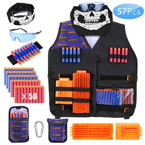 ESEUS 57 Pcs Taktische Weste für Kinder, Nerf Guns N 50 Darts Kugeln, 2 Quick Reload Clip, Nerf Brille, Nahtlose Gesichtsmaske, Dart Armbänded, Darts Beutel