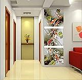 OBELLA Malen nach Zahlen 3 teilig Bilder für erwachsene triptychon XXL DIY ölgemälde 50x40 cm x3 Goldfische Lotus Teich (Mit Rahmen)