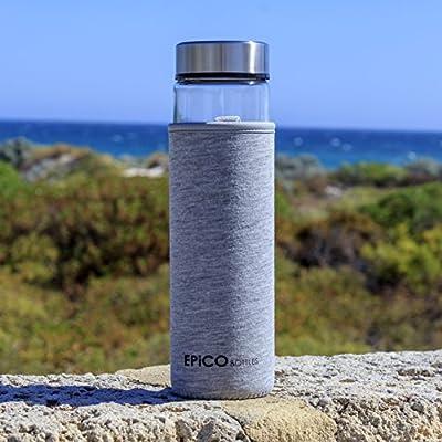 EPiCO BOTTLES Classic Trinkflasche aus Glas für kalte und heiße Getränke - Der perfekte Begleiter für den Alltag und alle Sport- & Outdooraktivitäten. Aus hochwertigem Glas. 100% BPA-frei.