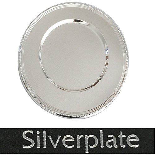 Platzteller 33 cm mit Perlrand Silber plated versilbert in Top Vearbeitung