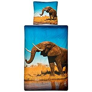 Aminata U2013 Bettwäsche Afrika 135x200 Cm Baumwolle + Reißverschluss Elefant  Digitaldruck Fotodruck 3D Effekt Braun Grau
