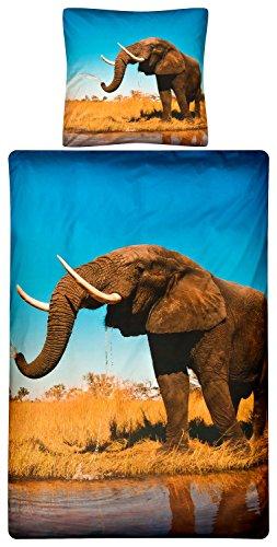 Aminata Kids - Kinder-Bettwäsche-Set 135-x-200 cm Elefant-en-Motiv Afrika Safari 100-% Baumwolle blau-e