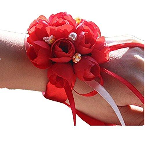 Westeng, bouquet da polso per sposa o damigella. braccialetto decorativo floreale con nastro, per matrimoni, feste o balli di fine anno, 2 pezzi, red, taglia unica