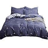 Stillshine Housse de Couette et Taie d'oreiller Parure de lit Bleu Constellation Galaxy Tropical Jungle Flamant Sets de Parure de lit, 100% Coton (Constellation Galaxy, 2 Pièces 200x200cm)