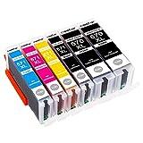 CSSTAR Compatible Cartuchos de tinta Reemplazo para Canon PGI 570 / CLI 571 XL para Pixma MG7750 TS8050 MG7751 MG7752 TS9050 TS8051 MG7700 TS8052 TS8053 Impresora - 2PGBK/1B/1C/1M/1Y