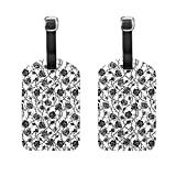COOSUN Black and White Roses Bush Luggage Tags Travel Labels Tag Name Card Holder for Baggage Suitcase Bag Backpacks, 2 PCS