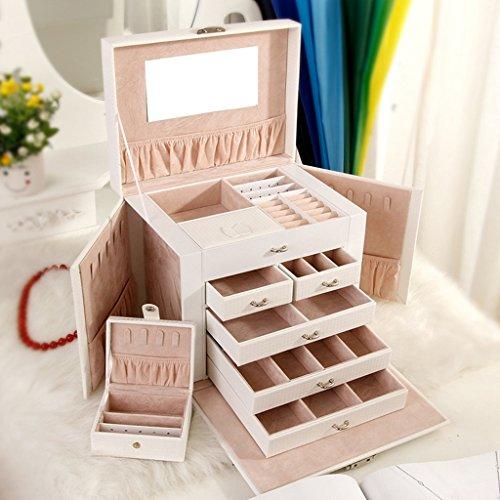 Étui cosmétique HWF Boîte à Bijoux Maquillage Boîte de Rangement Cuir Couches Multiples Organisateur (Couleur : Blanc)