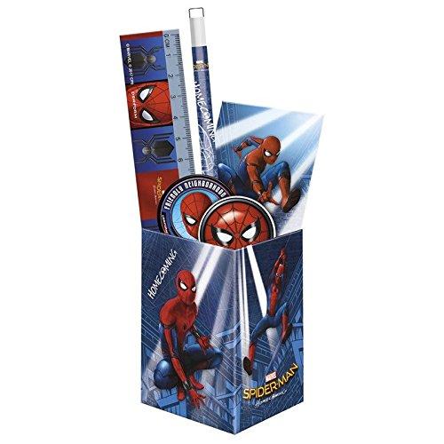 Kinder Schreibtisch Organizer Set 6 Teile: Metal Box, Bleistift, Kugelschreiber, Lineal, Radiergummi, Organizer und Anspitzer - Motiv Spiderman - tolles Geschenk für Jungen zum Schulanfang