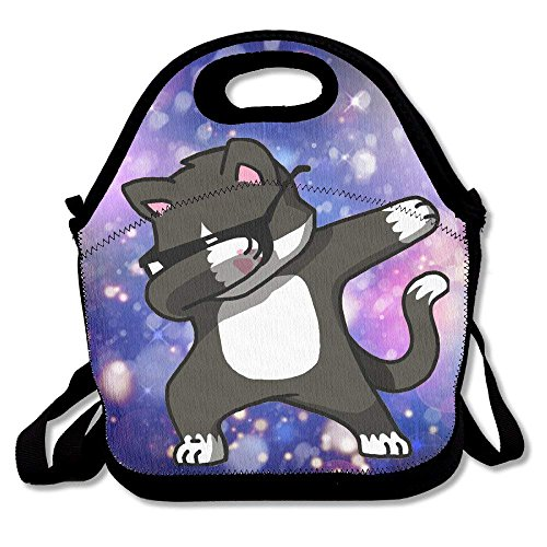 Dabbing Cat Funnyï½› Women, Men, Kids, Girls, Boys, Adults Lunch Box Bag Lunch Tote with Shoulder Strap -