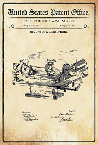 Office - Design for a grampohone - Entwurf für einen schallplatten - Berliner - 1896 - Design No 564586 - schild aus blech, metal sign, tin (Office-geburtstag Deko-ideen)