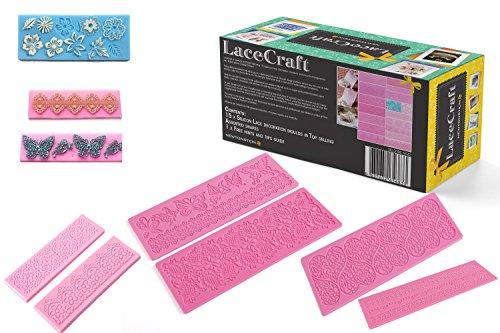 comprare on line LaceCraft - 15 pezzi comprendenti decorazioni e bordi di glassa per torte e cupcakes fatti di silicone - Assortimento delle forme più vendute + Una guida GRATUITA con suggerimenti e trucchi da esperto prezzo
