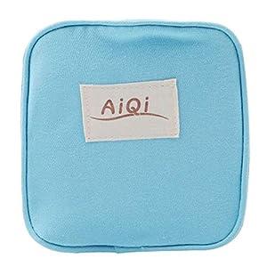 Idiytip Sanitary Napkin Bag Blue Small Handbag Money Holders Coin Storage Organizer Sanitary Pad Convenience Pouch