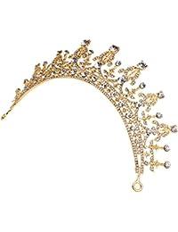 Tiara Corona Joyería de Pelo Diamantes de Imitación Decoración para Fiesta Boda Novia Color Oro