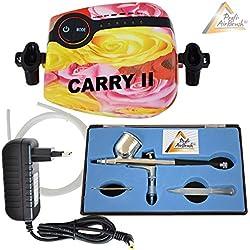 KIT AIRBRUSH COMPRESOR - KIT AIRBRUSH COMPRESOR Carry II ROSA set aerógrafo para aerógrafo colores - airbrush colores con PISTOLA AERÓGRAFO - PISTOLA AIRBRUSH DOUBLE ACTION-Gun 130 D con boquilla de 0,3mm KIT AERÓGRAFO OPTIMO para uñas, nail art, make up, bodypainting, tatuajes, decoración de tortas, modelación y muchos más!