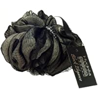 Esponja exfoliante de malla de nylon negro y color crema- con correa de muñeca