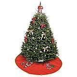 Okaytec Weihnachtsbaumdecke rund rot - Baumdecke Weihnachten Deko - Weihnachtsbaum Bodendekoration Unterlager