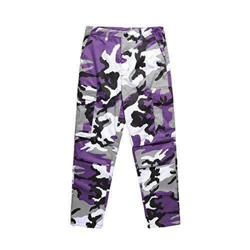 Niseng donna di cotone stampa mimetica tempo libero sciolto jeans moda pantaloni 1#viola 2xl