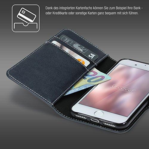 Étui iPhone 7, Urcover Deluxe Wallet Housse [avec Fente pour Cartes + Poche] Coque Apple iPhone 7 Case Noir Smartphone Téléphone Bleu Foncé