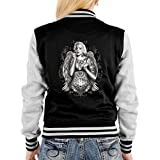 College Jacke schwarz/grau Damen mit Marylin Monroe Motiv : Marilyn/Tattoo Marylin - Collegejacke Farbe: schwarz Gr: M