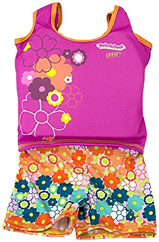 Aqua Leisure ET9136L Girls 1 pc swim trainer, floral print shorts, printed top, with back zipper - L Toy by Aqua Leisure -