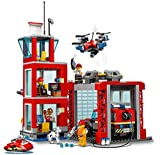 LEGO 60215 City Fire Fire Station Garage Building Set with Truck Toy, Water Scooter, Drone and 3 Firefighter Minifigures plus Light and Sound Brick, Fireman Toys for Kids