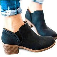 Introut Chelsea Boots Women Faux Leather Ladies Ankle Boots Flat Block Heel 5cm Booties Autumn Winter Shoes Comfortable Casual Black Brown Khaki 3-9 UK