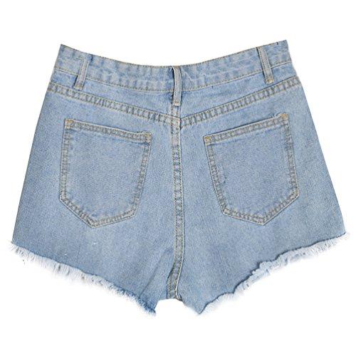 1e7482d07c7f40 ... YuanDian Damen Große Größe Casual Somme Lose Dünn Jeans Shorts  Zerrissene Löchern Kurze Denim Hot Pants ...