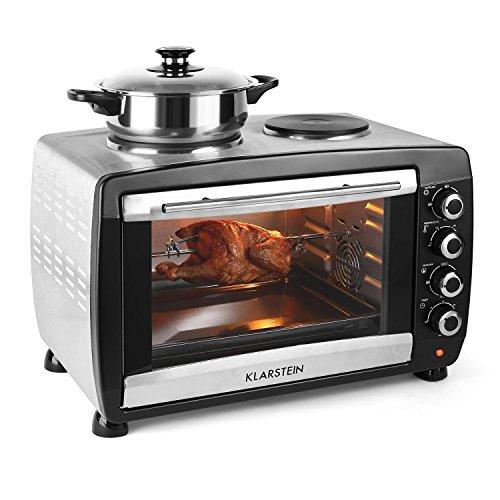 Klarstein Omnichef horno-grill eléctrico mini con placas de cocción (2.000 W, 45...