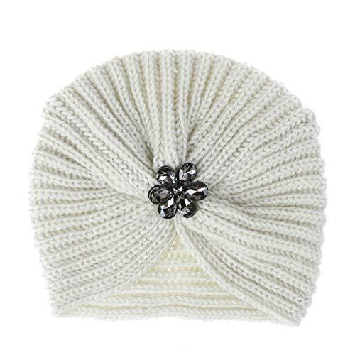 ziYOU hat Frauen Mädchen halten Winter einfarbig warme Kristallblume gestrickte Wolle Hemming Cap Ski Hat(18cm X 20cm, Beige)
