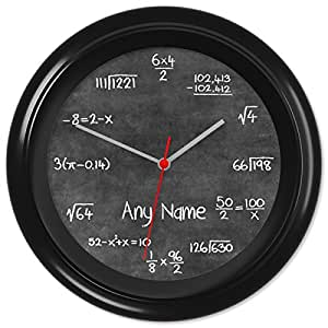 Chalkboard Teacher Classroom Maths Wall Clock Gift #04 (Can be personalised)