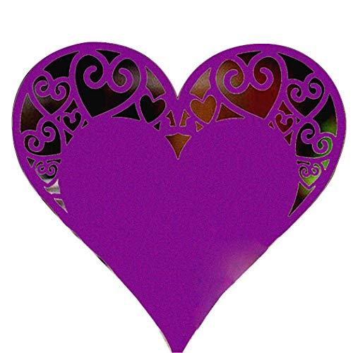 fnemo Hochzeit Papierkarte,Name Papierkarten 50PCS höhlen heraus Herz-Form-Karten-Hochzeits-Tabellen-Namenspapier-Partei-Dekorationen aus
