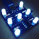 Paradisetronic.com Würfelbausatz/Dice Kit/Elektronischer Würfel mit hellen, weißdiffusen LEDs und Atmel AVR Mikrocontroller, Elektronik-Bausatz, MiniUSB, 5V