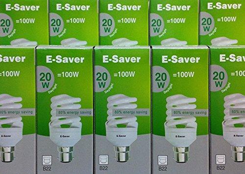 Pack di 3/5/6/10/Daylight e-saver 15W, 20W, 24W, 30W, a spirale, con attacco a baionetta (BC, B22) 440Lumen, T2, 80% -85% di risparmio energetico lampadina, sfarfallio, durata: 10.000ore, Daylight, b22 20.00 wattsW 240.00 voltsV