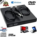 Lospu HY® Black Slim USB2.0 Externer Player Externer USB + DVD Combo CD-R / RW CD-ROM / XA DVD-ROM Brenner Laufwerk + Netzkabel, unterstützt CD Brennen nicht benötigt CD-ROM-Laufwerk