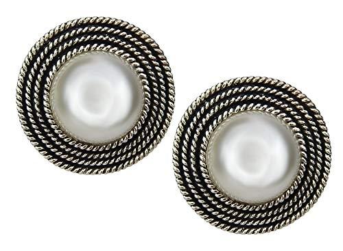 Ella Jonte große runde Ohrclips silber Perle weiß Clips Perlenohrringe Ohrringe