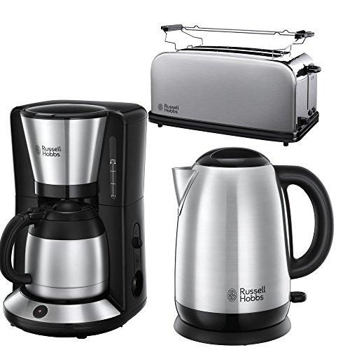 Russell Hobbs Frühstücksserie Aventure m.4-Scheiben Toaster+ Thermo KA in Edelstahl