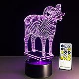 Augrous 3D Nachtlicht LED Acryl Optisch Illusion Schaf Lampe 7 Farbe Ändern mit Abs Base USB Aufladen zum Festival Geburtstag Geschenk (Farbe : Touch and Remote)