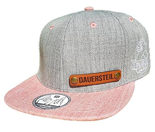 100% Steil Baseball Cap NFC-Chip - Grau-Rosa 2-Tone - smarte Kappe für Herren und Damen (Salmon - 'DAUERSTEIL')