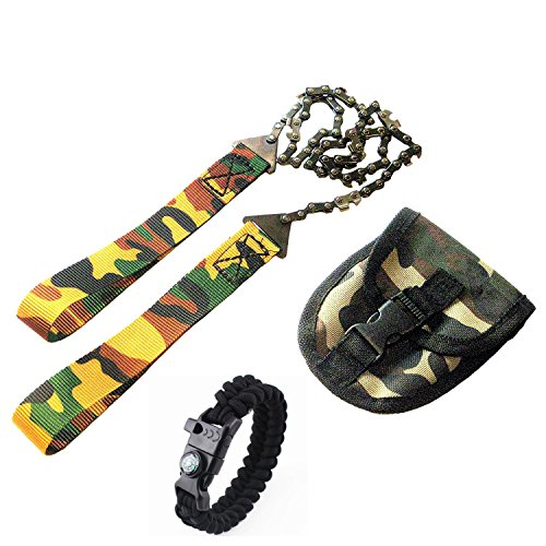 Survival Pocket Hand Chainsaw Säge Pocket Chainsaw Blad Essential für Survival Gear, Bug Out Bag, Camping Gear, Survival Kit, Camping Ausrüstung, Wandern Gear, Notfall Kit, Katastrophe kit-trimming Bäume 61cm Sägekette - multicolour+bracelet