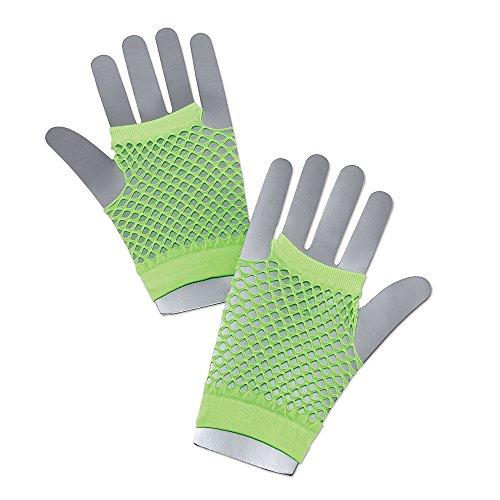 Bristol Novelty ba572Fischnetz Handschuhe kurz neon grün, One Size