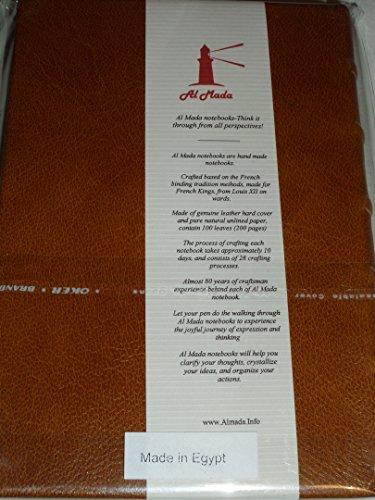 Al Mada ordinateur portable: Français de reliure traditionnelle, à la main en cuir véritable et papier non doublé, Caramel, Coque rigide (5,5x 8.3), 150feuilles (300pages)