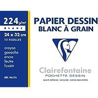 Clairefontaine 96176C Pochette dessin à grain 24 x 32 12 feuilles 224 g