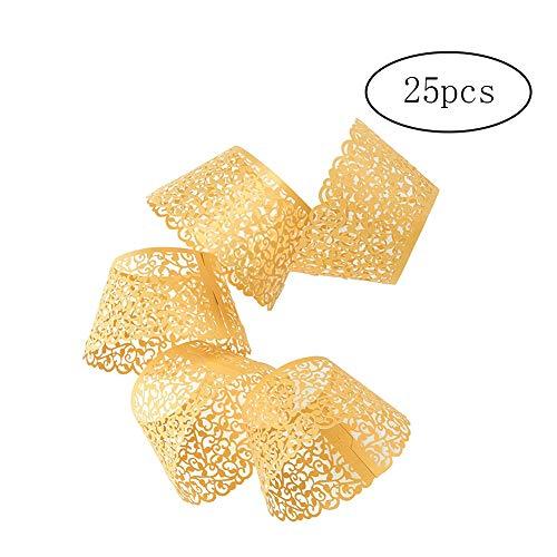 Hilai Paper Cup Kleine Rebe Spitze-Kuchen-Verpackung, Set von 50 Papierbecher Box Cupcake Wrap für Hochzeit Geburtstag Party-Baby-Dusche Dekorationen, Gold, 25 St & uuml; ck