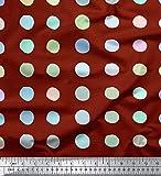 Soimoi Rot Seide Stoff Kreis geometrisch Stoff Meterware 42