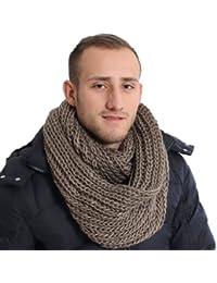 Brubaker Écharpe-tube grosse maille pour homme – Uni ou bicolore, disponible en 9couleurs