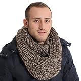 Brubaker Écharpe-tube grosse maille pour homme – Uni ou bicolore, disponible en 9couleurs -  marron - Taille Unique
